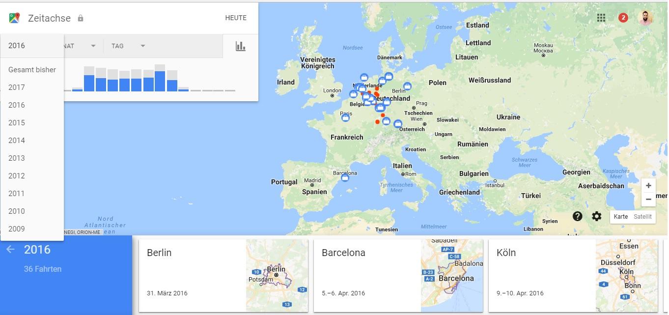 google timeline yunodigital